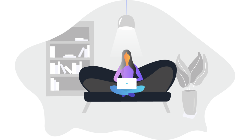 Illustration of woman with laptop sitting on couch