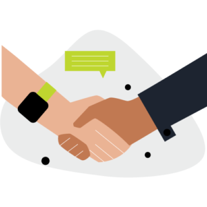 Illustration of two people shaking hands with text message bubble above