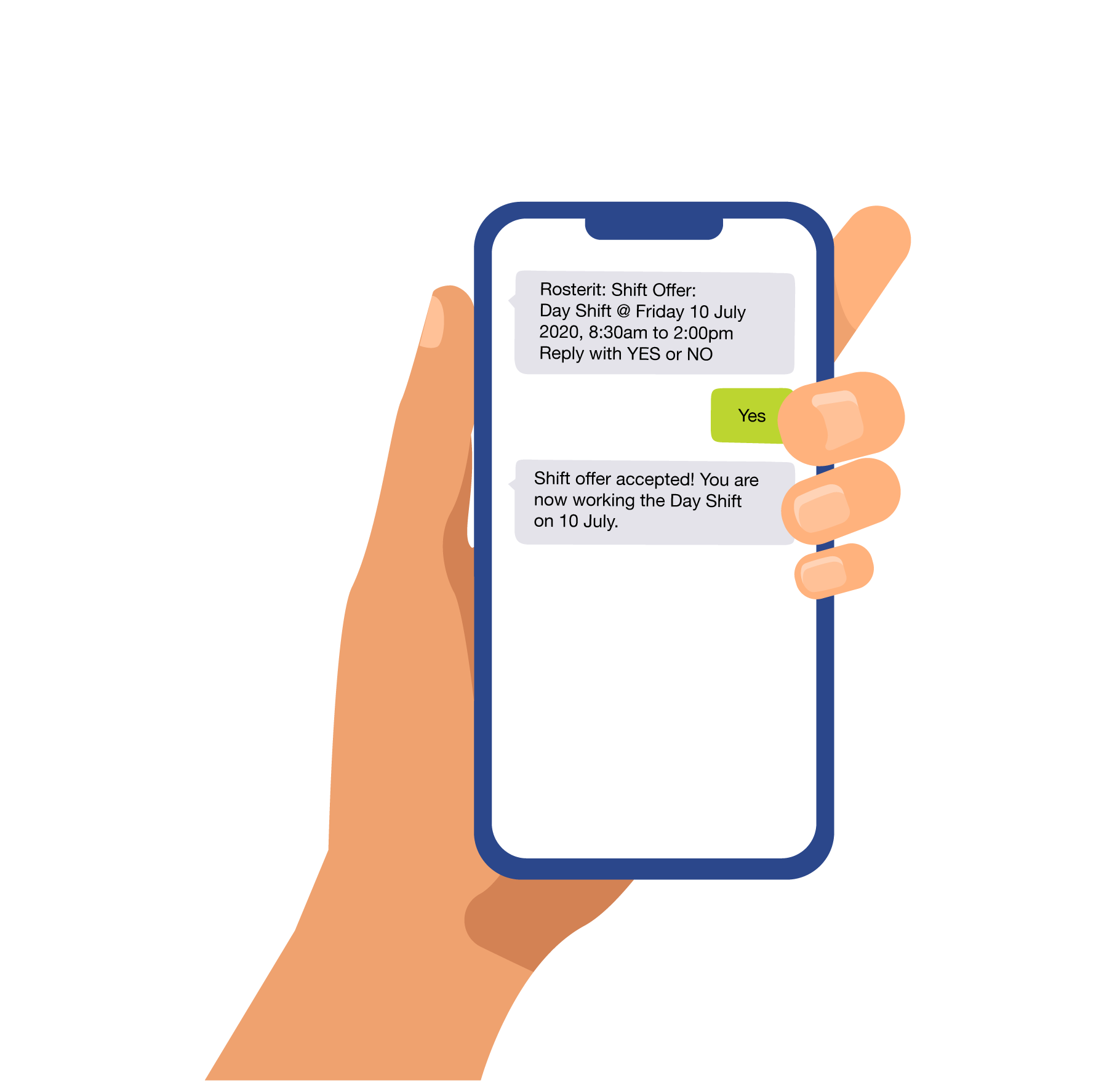 illustration of hand holding mobile phone with text messages